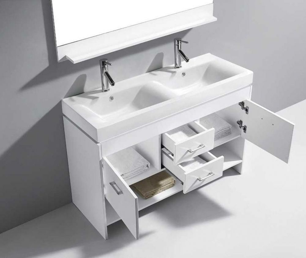 Virtu Usa Md 423 C Wh Gloria 48 Double Square Sink White Ceramic Top Vanity In White With Polished Chrome Faucet And Mirror Vanity Double Bathroom Vanity Vanity Top
