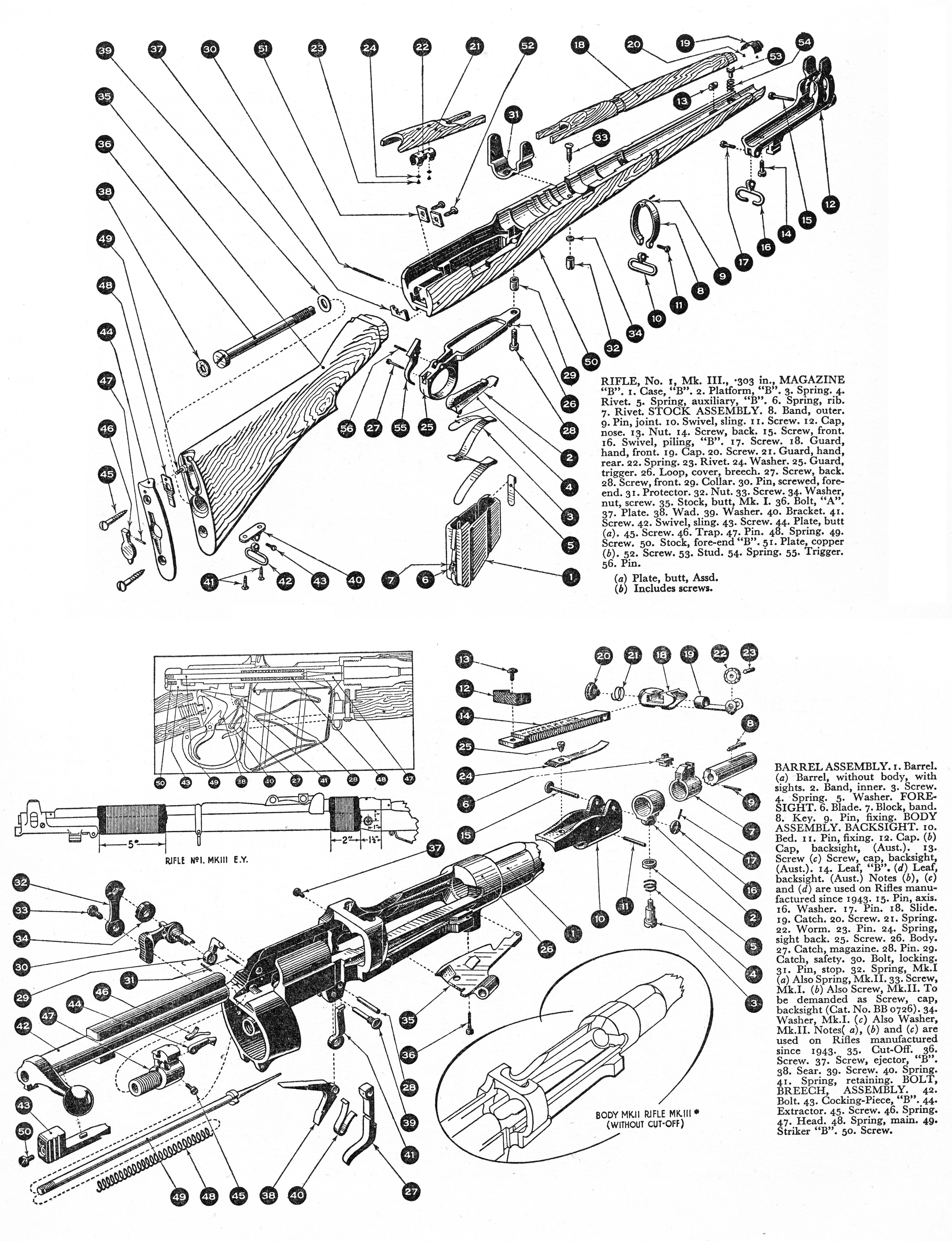 Detailed parts diagram of 'Rifle No1, MkIII, SMLE 303in