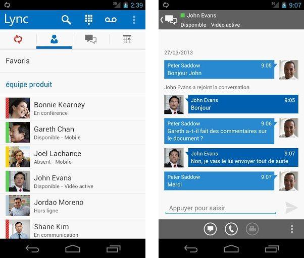 Microsoft Lync 2013 est disponible sur Android | Avaya