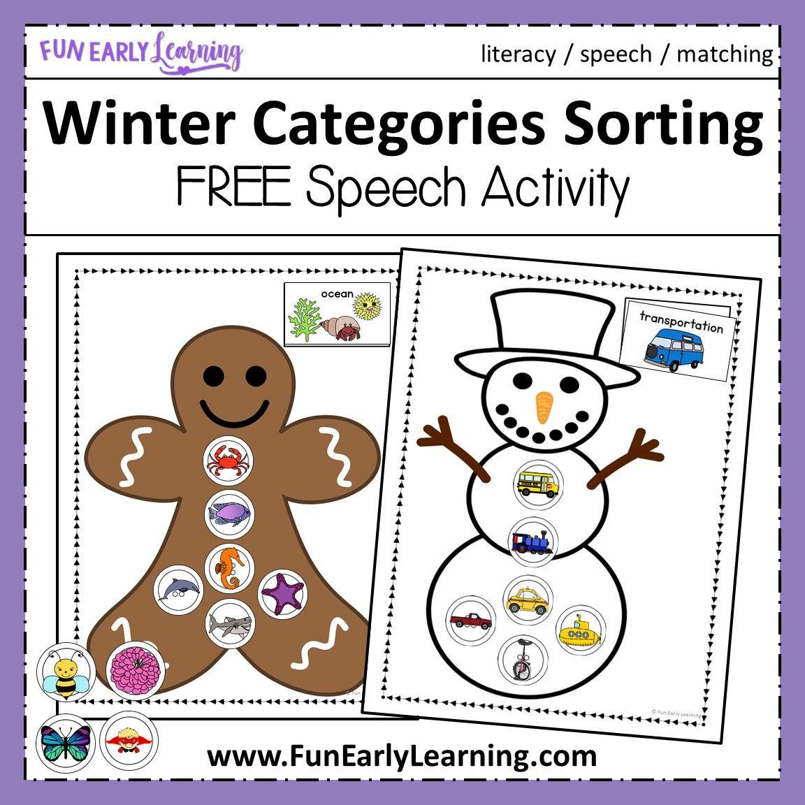 Winter Categories Sorting Speech Activity | Speech ...