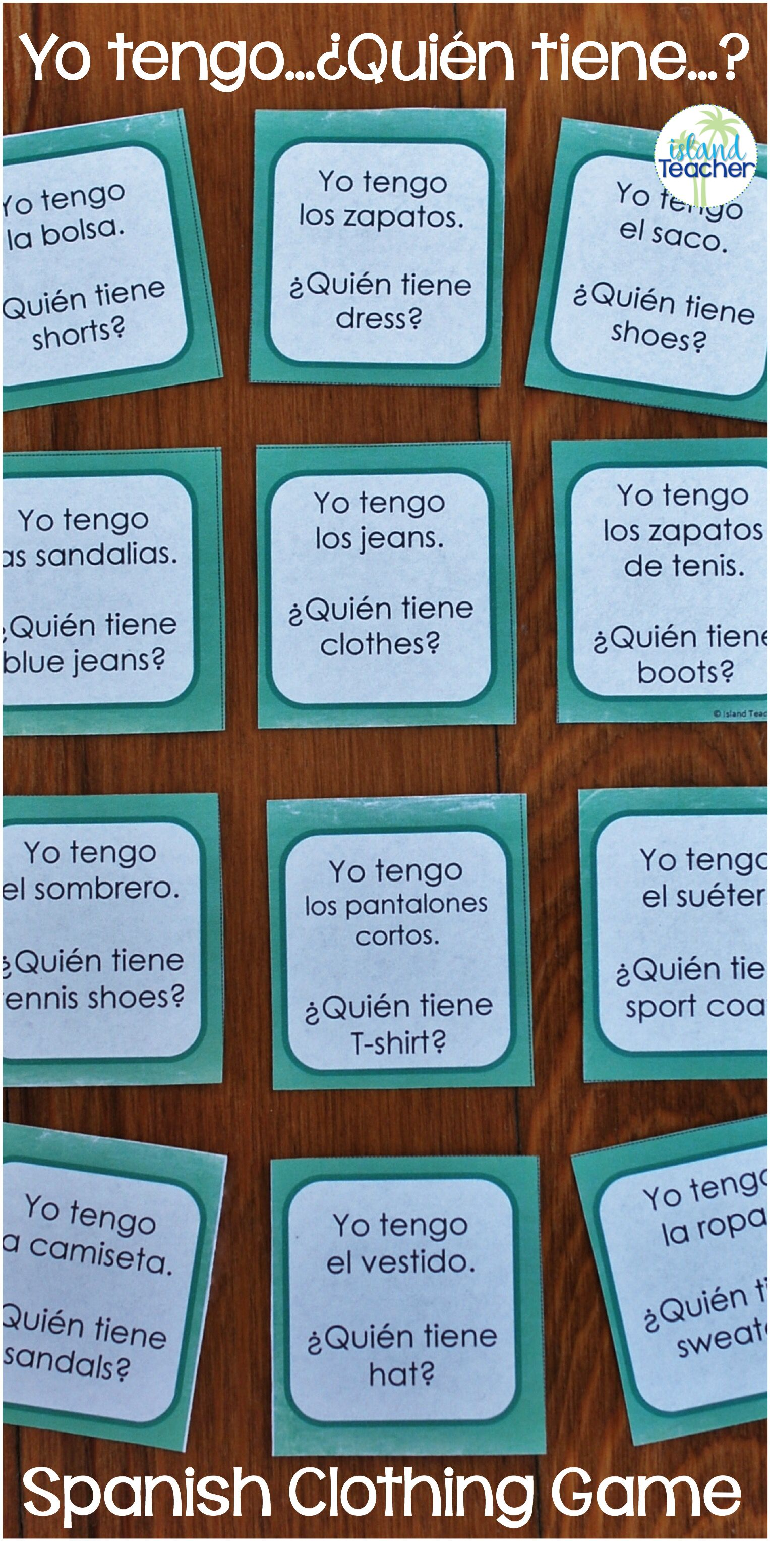Whole Class Interactive Game For Practicing La Ropa
