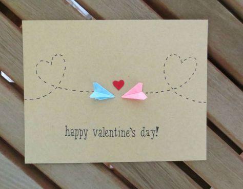 long distance valentine, valentine's card, valentine's day card, paper airplane valentine, cute valentine, plane valentine, handmade