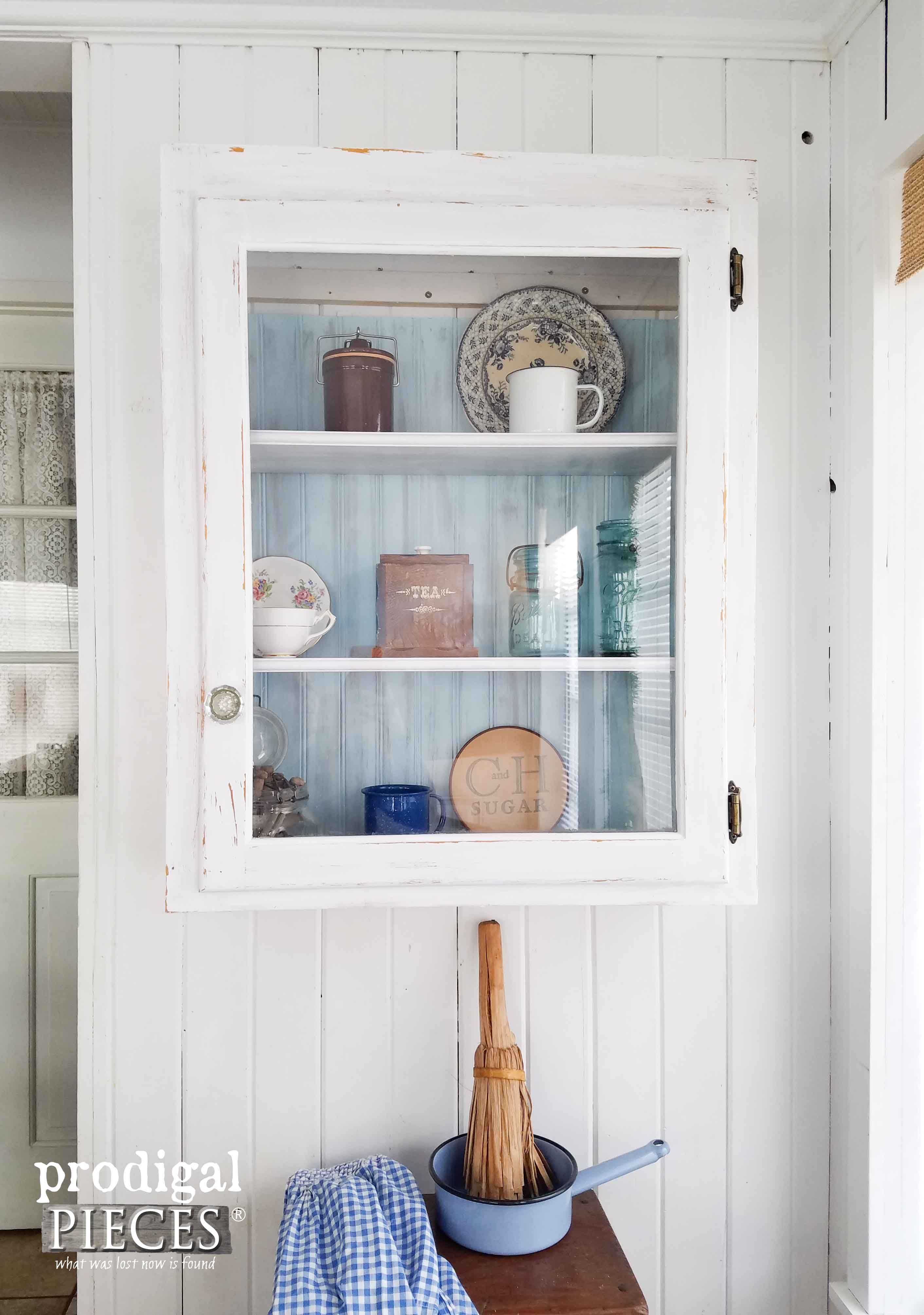 Vintage Farmhouse Cupboard With Simple Vignette By Prodigal Pieces -
