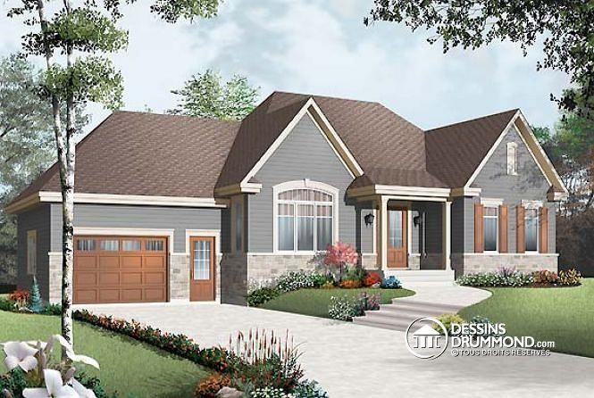 Vue avant Plan de maison bungalow style champêtre rustique craftsman - site pour plan de maison