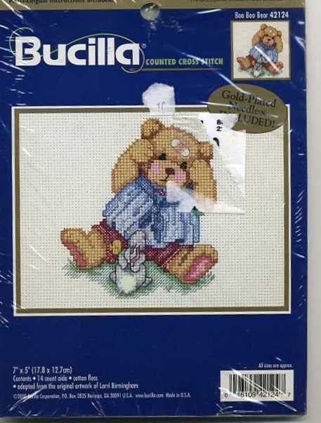 """Bucilla Counted Cross Stitch #BooBooBear 4124 #TeddyBear #Bunny  NIP 7"""" x 5"""" #Bucilla #CountedCrossStitch"""