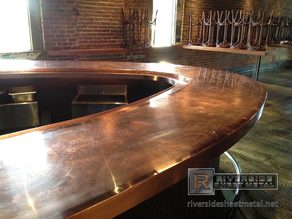 Copper Bar Top River Side Sheet Metal Outdoor Kitchen Countertops Modern Kitchen Countertops Outdoor Kitchen Design