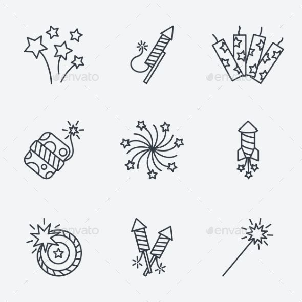 Pyrotechnic Icons Set, Thin Line Art (EPS Vector, CS, 5000 × 5000, Anniversary, … – Holidays And Occasions