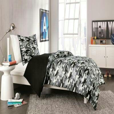 Black White Army Camo Reversible Comforter Twin Xl Bedding