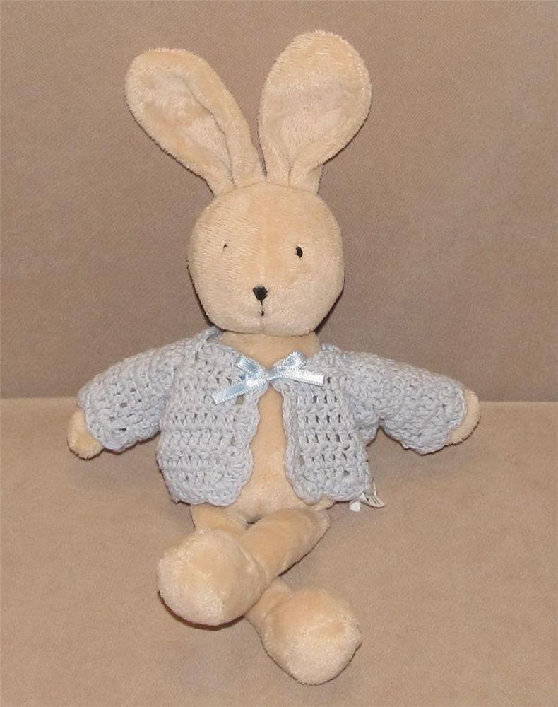 13 Jelly Kitten Tan Croshetta Bunny Rabbit Blue Sweater Plush Baby Toy Lovey Jellykitten Baby Plush Toys Plush Sweater Baby Toys