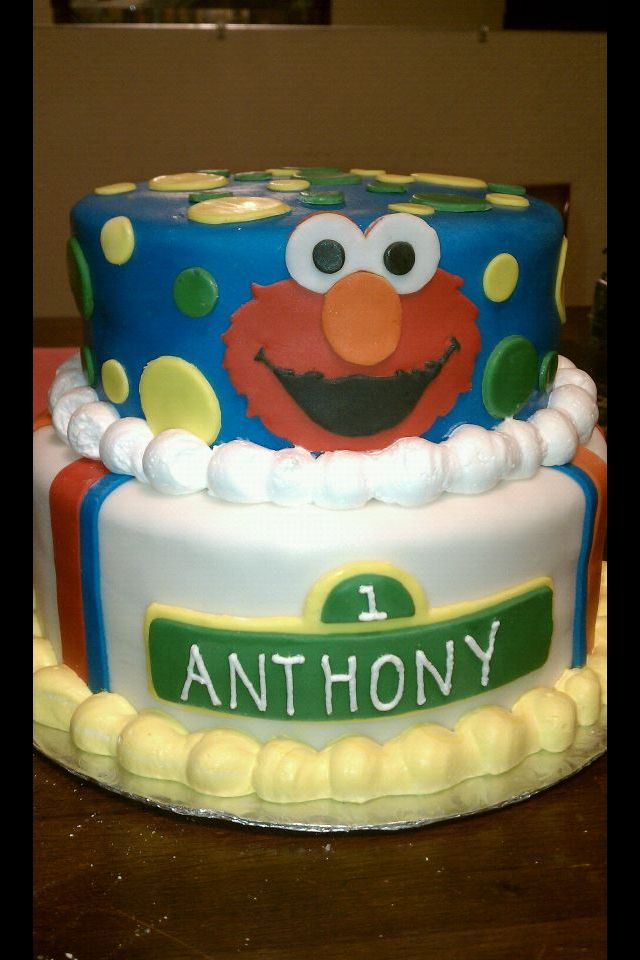 Elmo Sesame Street Super Cute Two Tier Birthday Cake