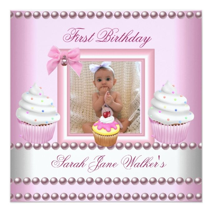 First Birthday Girl Pink Cupcakes White Pearl Baby 525x525 Square - invitation card for ist birthday