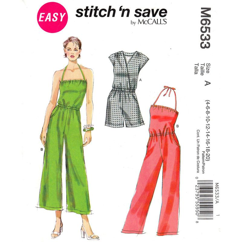 Jumpsuit and Romper Pattern McCalls 6533 Halter or Bodice Wrap ...