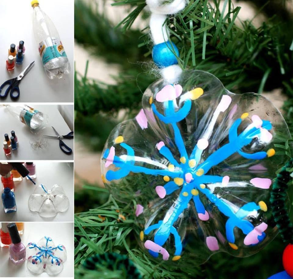 adornos para el árbol navideño con culos de botella de refresco ...