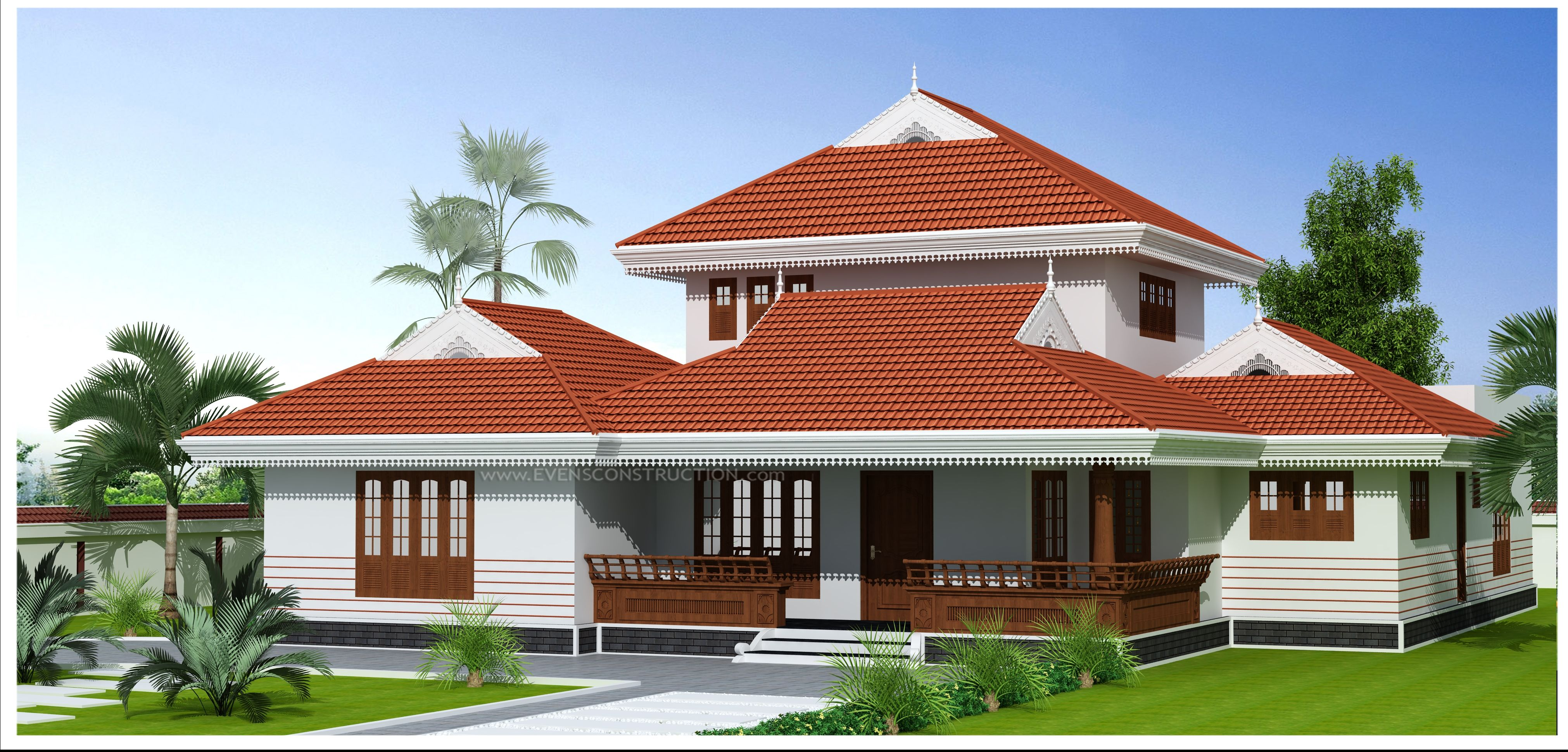Traditional style kerala home designed by evens construction house plan design