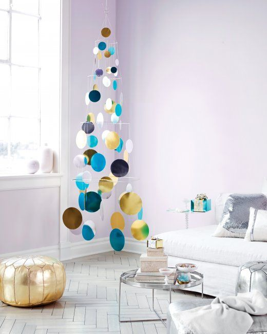 Metallic Foil Paillette Tree Mobile | Step-by-Step | DIY Craft How To's and  Instructions| Martha Stewart - Metallic Foil Paillette Tree Mobile Christmas Christmas, Diy