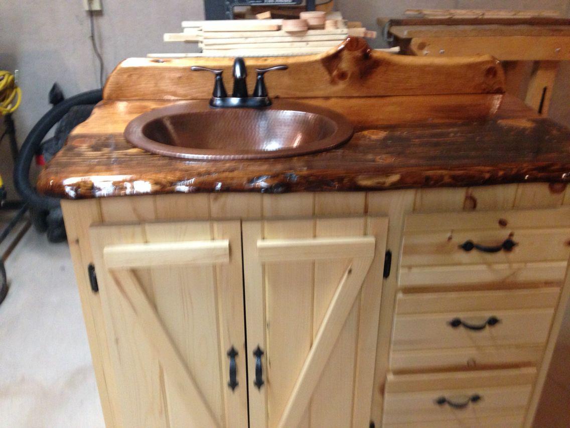 Bathroom Vanity Pine Slab Counter Top With Honey Minwax