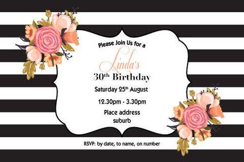 Ladies 30th Birthday Invitations Chic Adult Birthday Invitations