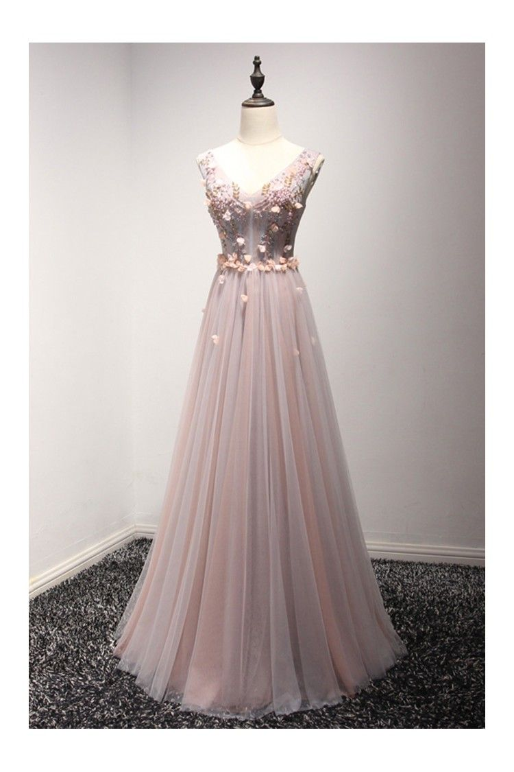 2d597f76779 Shop Long Floral Pink And Grey Prom Dress With Beading Sweetheart Neck  online. SheProm offers formal