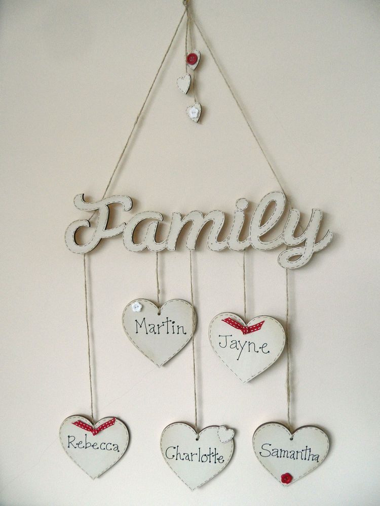 Details About Shabby Chic Style Wooden Heart Hanging Family Tree