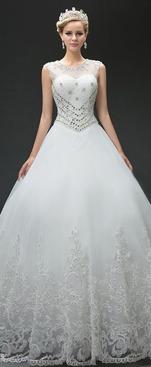 Blush wedding dress with sleeves  Marvelous Tulle Jewel Neckline Ball Gown Wedding Dresses With Sequin