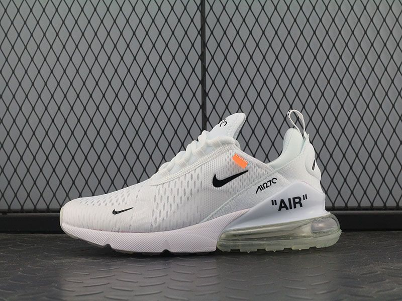 save off df122 67bd8 Off white x Nike Air Max 270 OW White Black Orange Women Men Shoes
