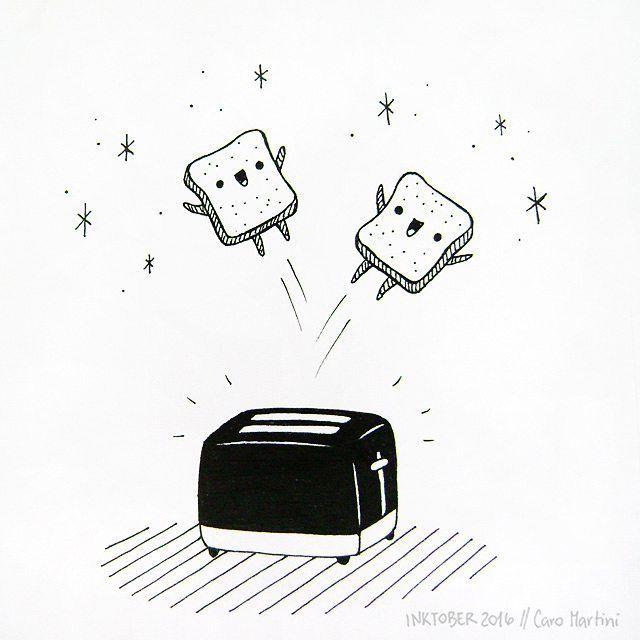 Inktober Day 10: Jump #inktober #inktober2016 #ink #illustration #drawing #doodle #blackandwhite #cute #toast #breakfast #morning #bread #food #happy #cartoon #art #artist #illustrator #pen #sketch #sketchbook #picame #instaart #artistsoninstagram #drawingoftheday #hginspo