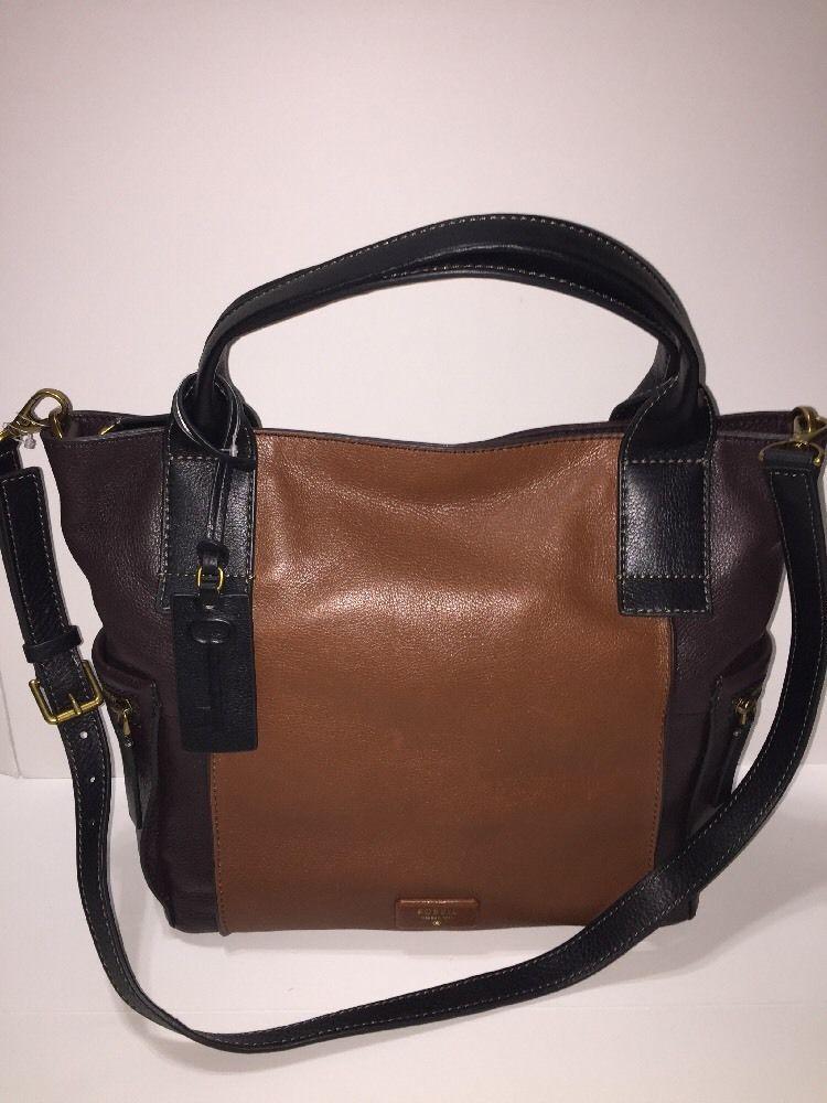 Fossil Emerson Satchel Crossbody Purse Color Block Multi Brown Bag Zb6696200 New
