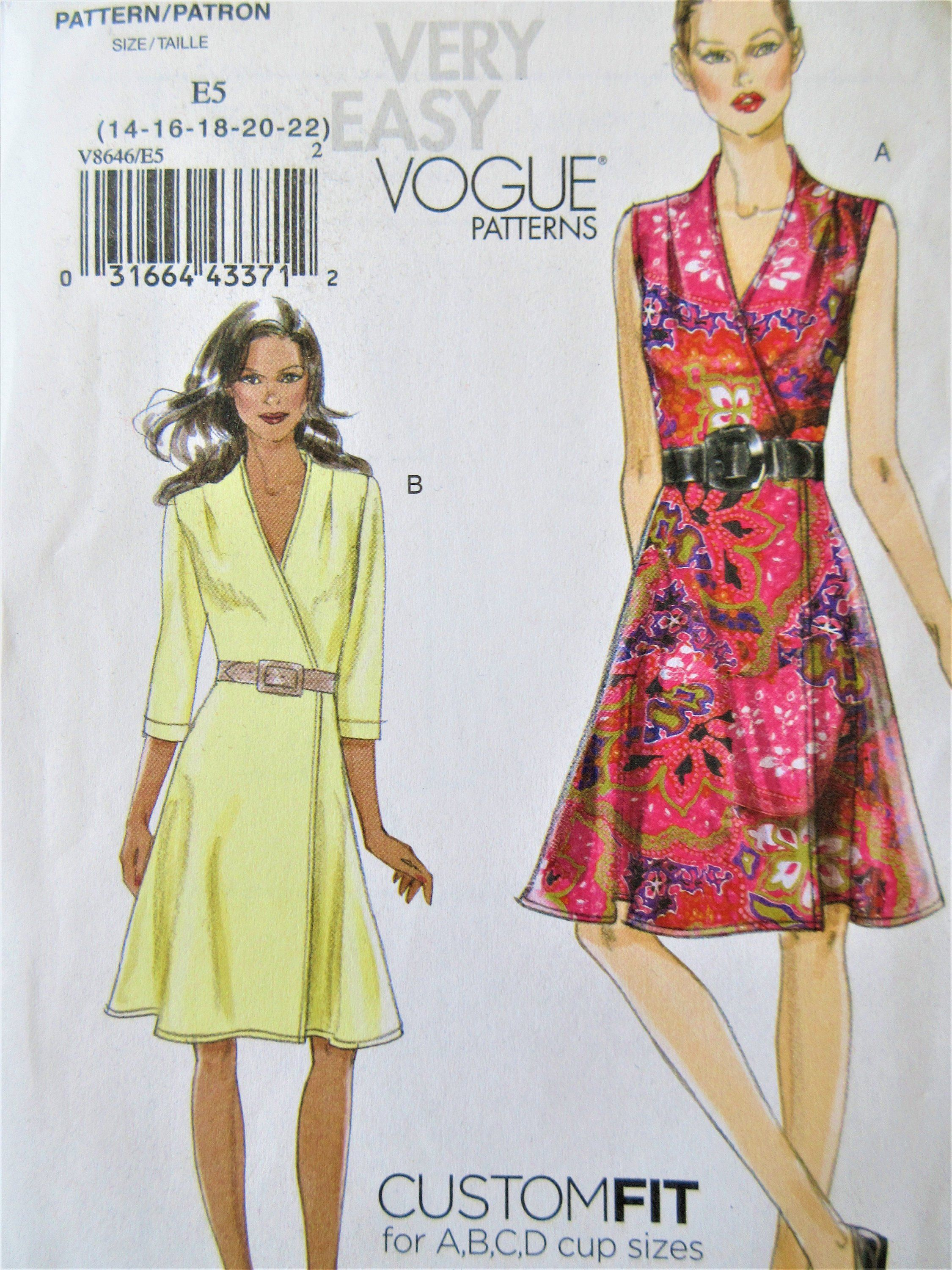 Vogue 8646 Sewing Pattern Wrap Dress Pattern Fit And Flare Bust