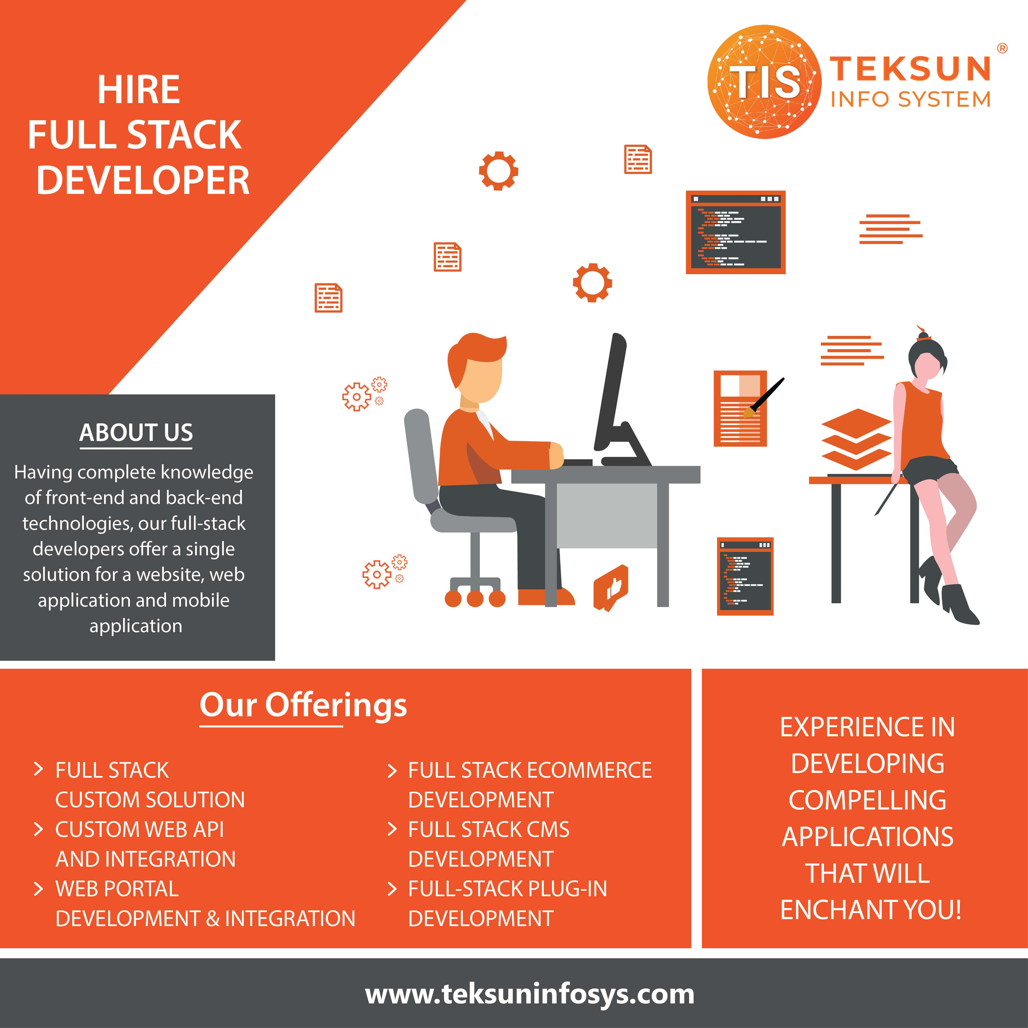 Hire Full Stack Developer From Teksun Who Are Well Equipped With Methodical Information Of Front End And Back End Techn Full Stack Developer Full Stack Web Api