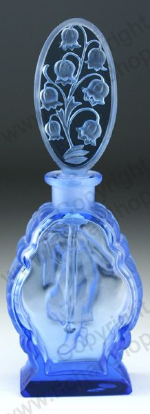 VINTAGE GLASS: ART DECO SCENT & PERFUME BOTTLES. c.1930s BLUE FIGURAL ETCHED CRYSTAL SCENT BOTTLE WITH FLORAL STOPPER, CZECHOSLOVAKIAN. To visit my website click here: http://www.richardhoppe.co.uk or for help or information email us here: info@richardhoppe.co.uk