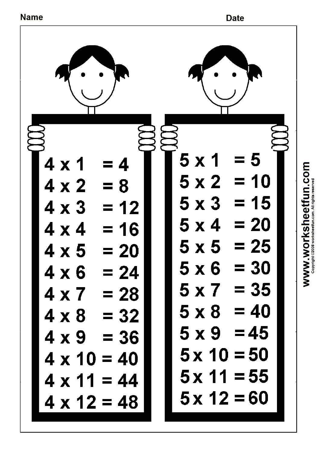 Times Table Chart 4 Amp 5 Worksheets Lots Of Great