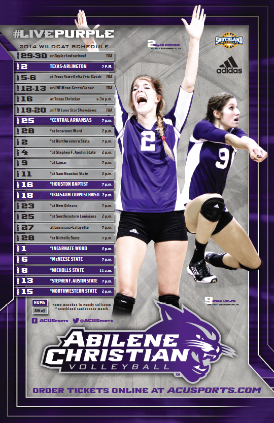 Acu Volleyball Poster 2014 Volleyball Posters Sports Marketing Abilene Christian