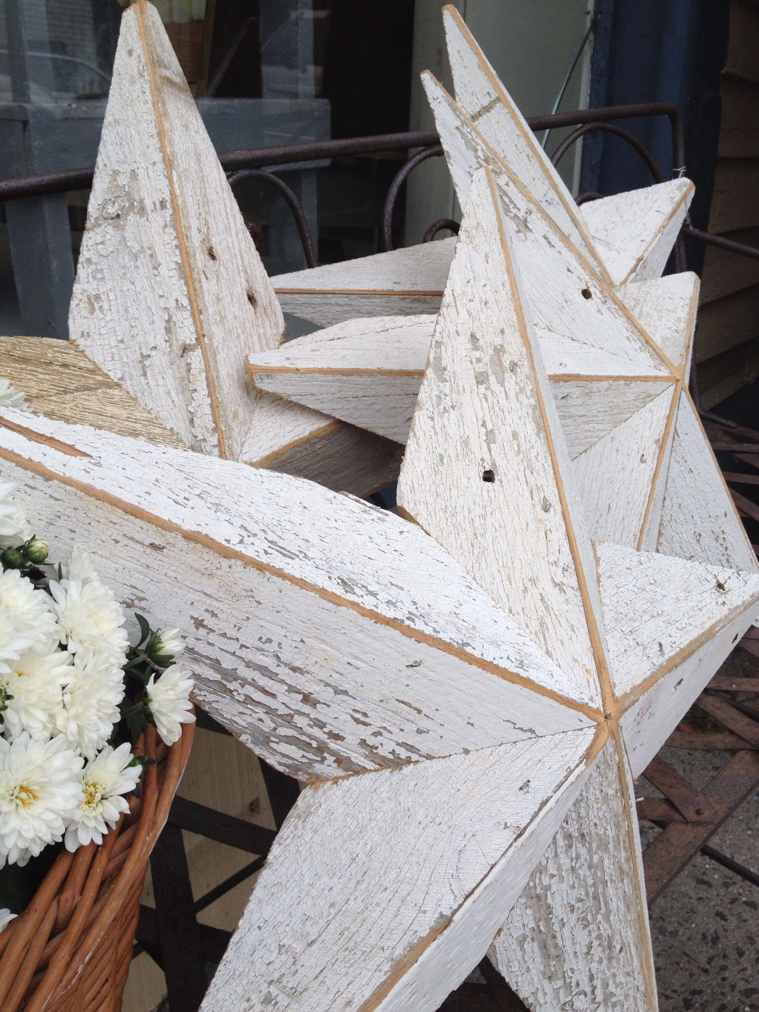 Barn Stars Pine Planks In Original White