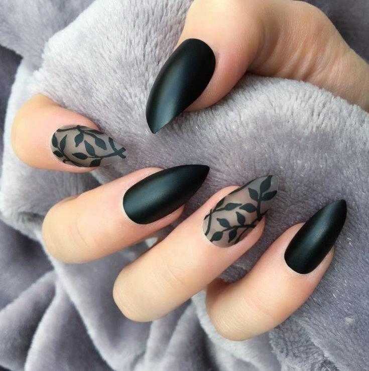 40 Black Nail Art (ongles en acrylique, ongles ternes) pour la nuit. - Ongles