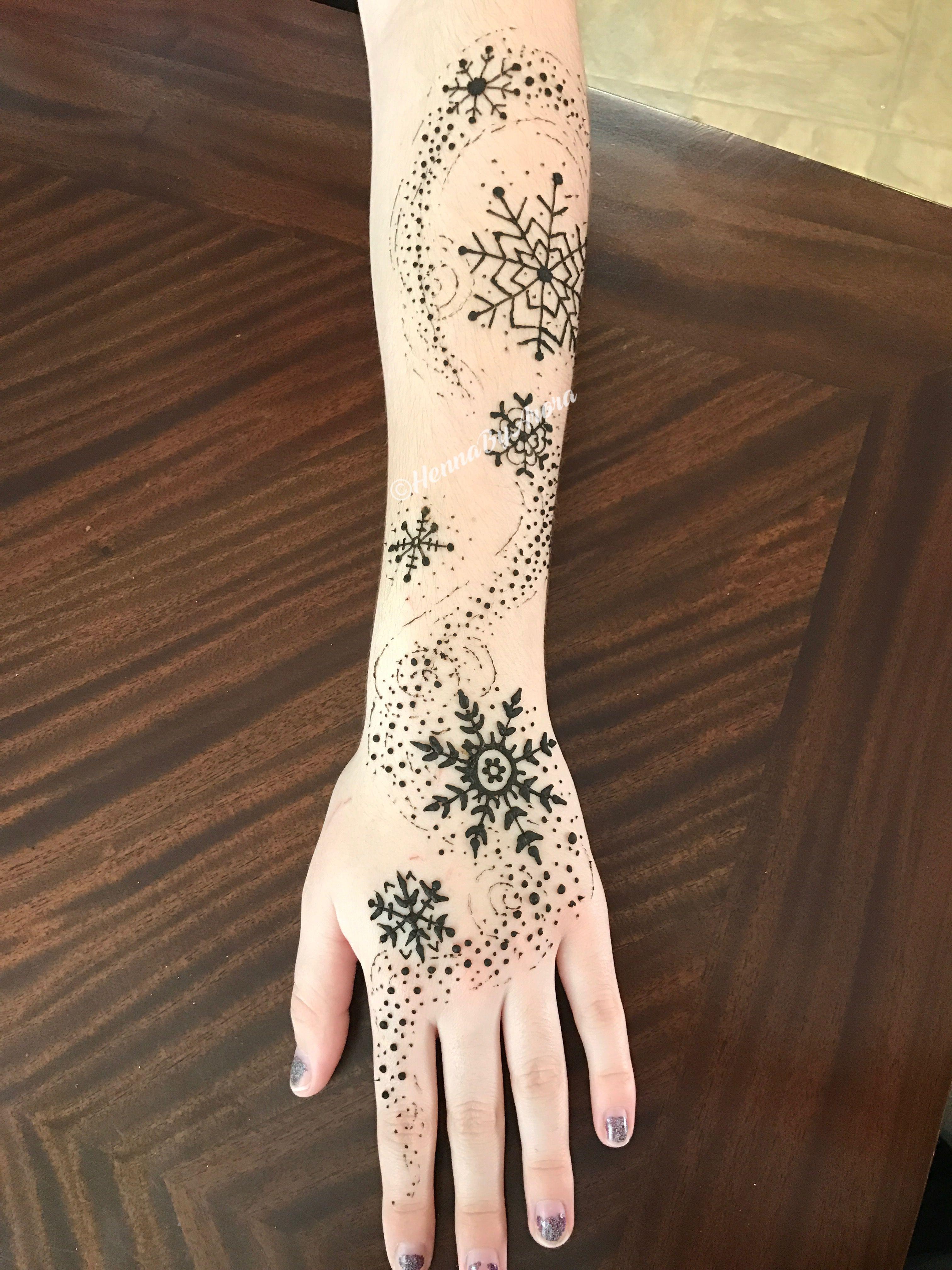 Snowflake henna | @HennaByArora | Tattoos, Snow flake ...