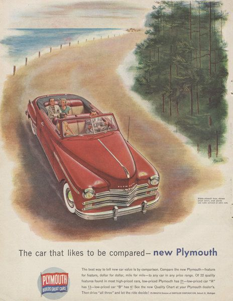 1949 Chrysler Plymouth Car Ad Red Convertible by AdVintageCom