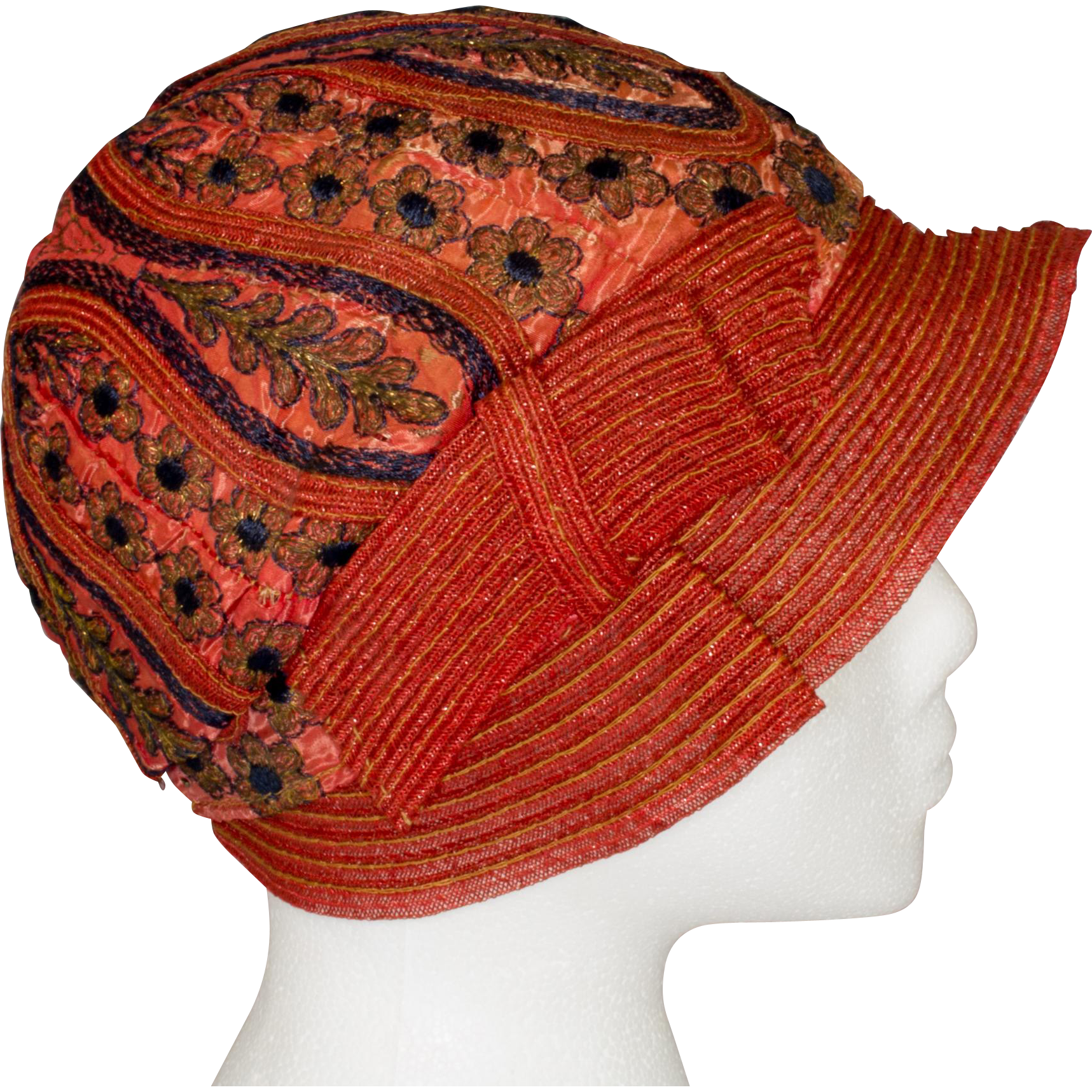 aba350bcf0099 1920 s Flapper Burnt Orange Silk Cloche Hat with Deep Blue and Gold  Metallic Embroidery