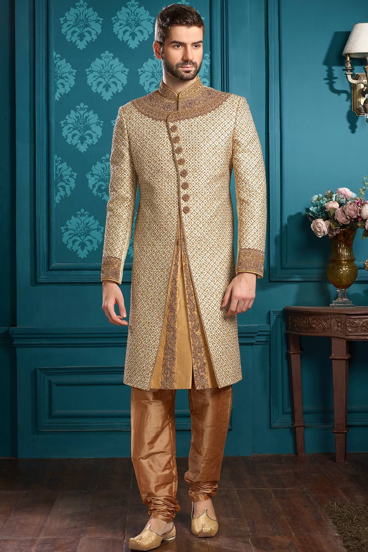 Beige Stone Embroidered Silk Wedding Sherwani-SH416   Moda árabe ...