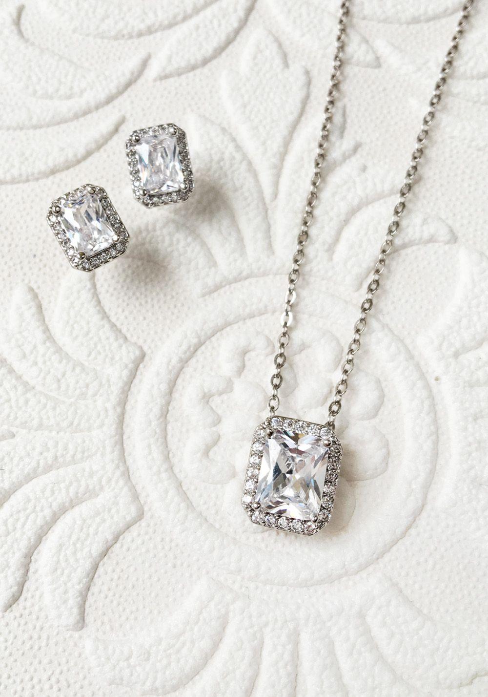 ca2d04276 Emerald cut 18K White Gold Cubic Zirconia Necklace Set Bridal Jewelry