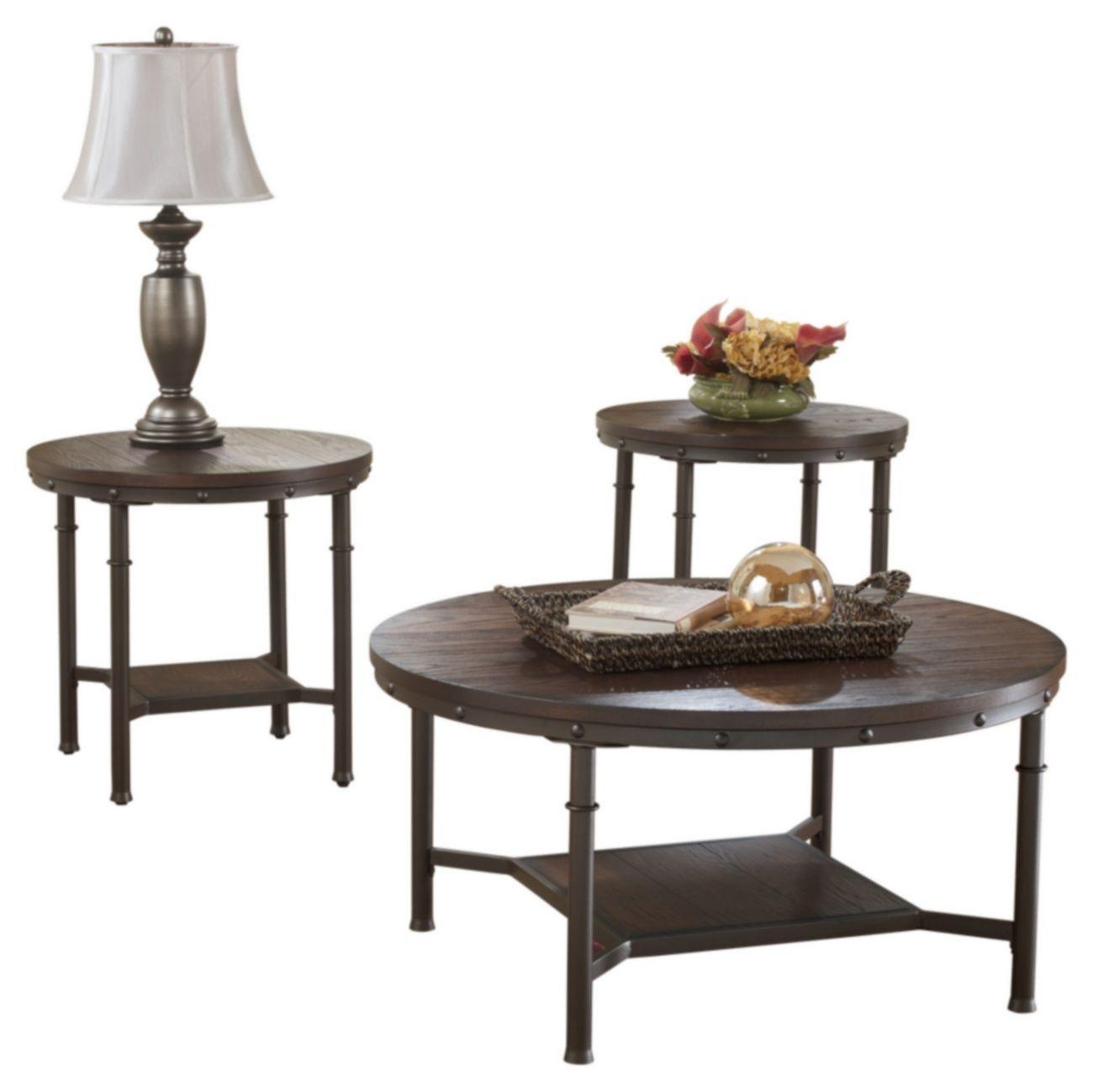 Signature Design Sandling Occasionnel 3 Pces Set De Table Meubles Ashley T277 13 Living Room Table Sets Coffee Table Rustic Living Room Furniture [ 1299 x 1300 Pixel ]