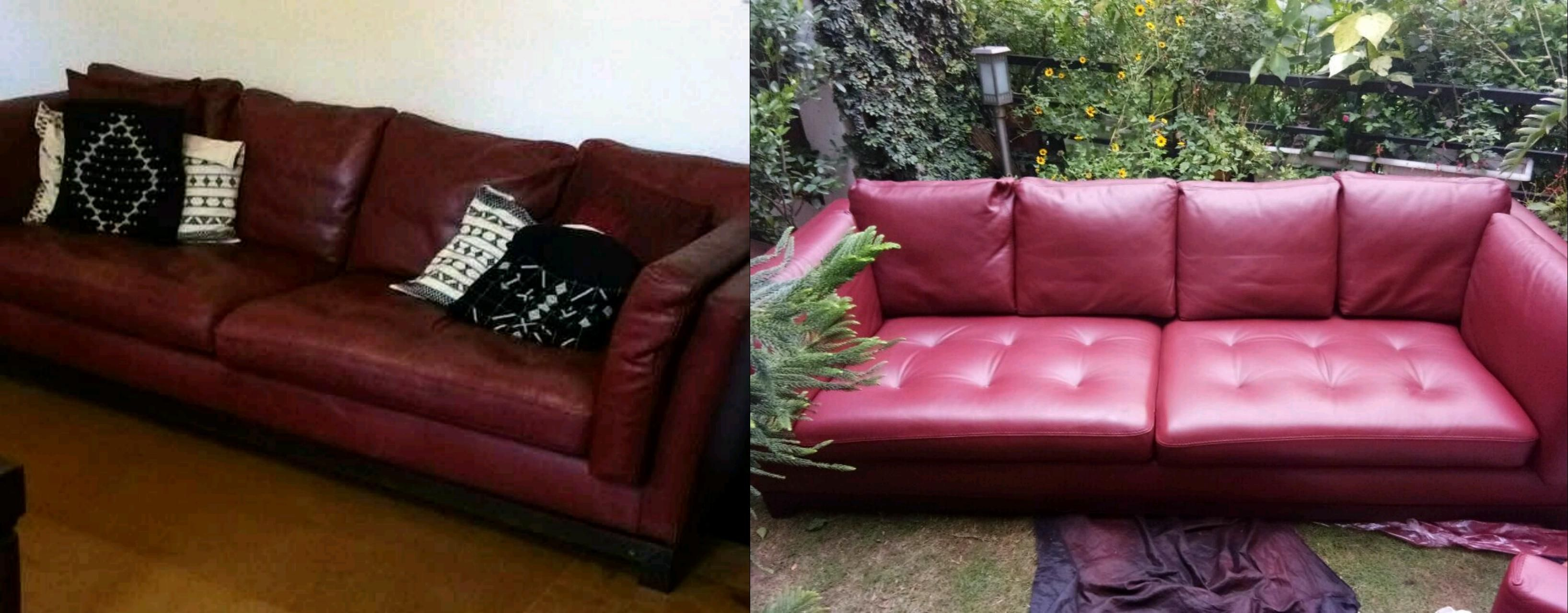 We Deep Cleaned And Red The Colour Of This Sofa To Perfection