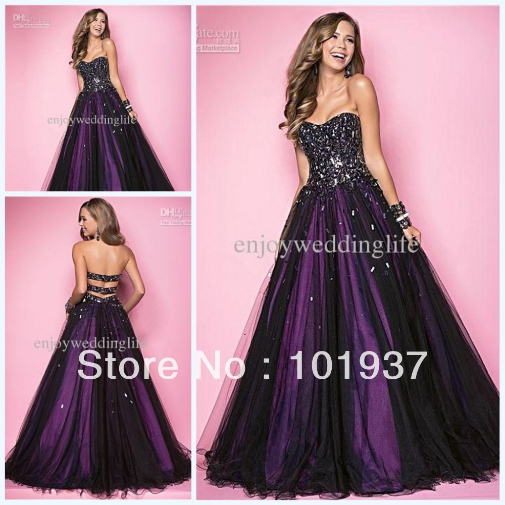 Sexy Floor Length Sequin Prom Dresses with Purple