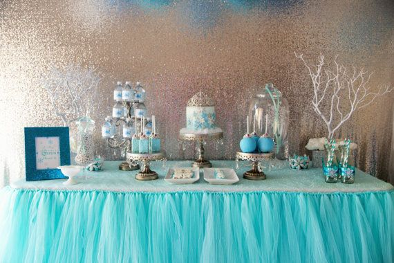 Aqua Blue Tutu Table Skirt