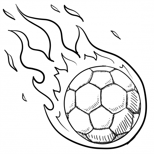soccer ball in flames for kids activities coloring and kid