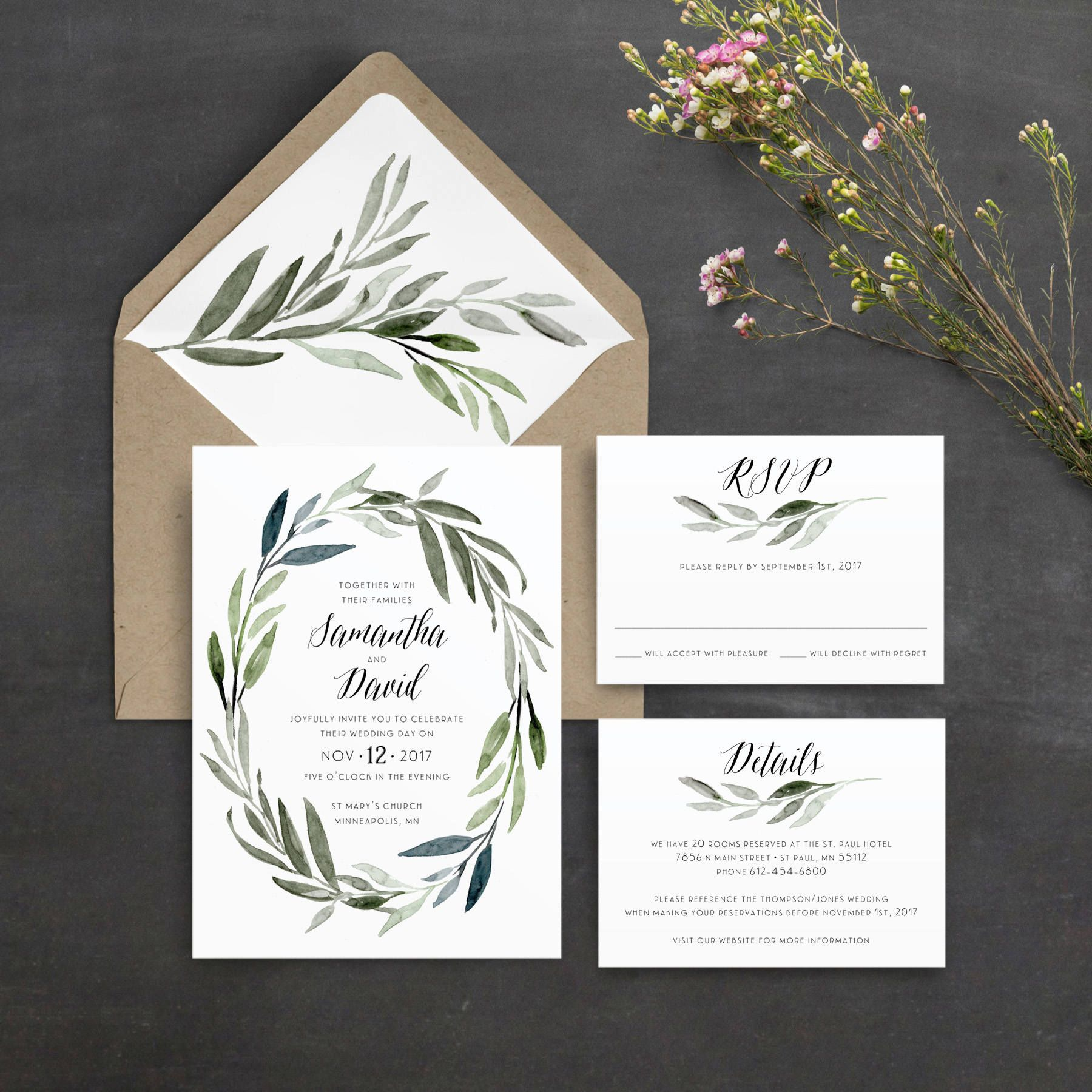 Watercolor Leaf Wreath Wedding Invitation Green Leaves Olive