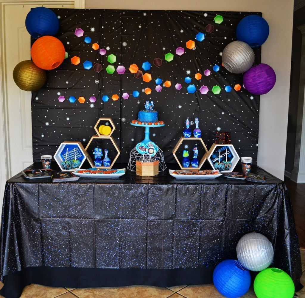 Space blast printed tablecover in 2019 miles from for Outer space decor