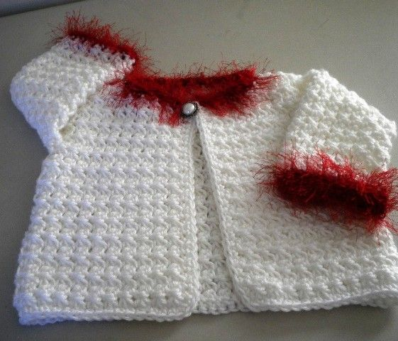 b68ee0154d8e Red Crochet Baby Sweater for Christmas Red and White 12 M by ...