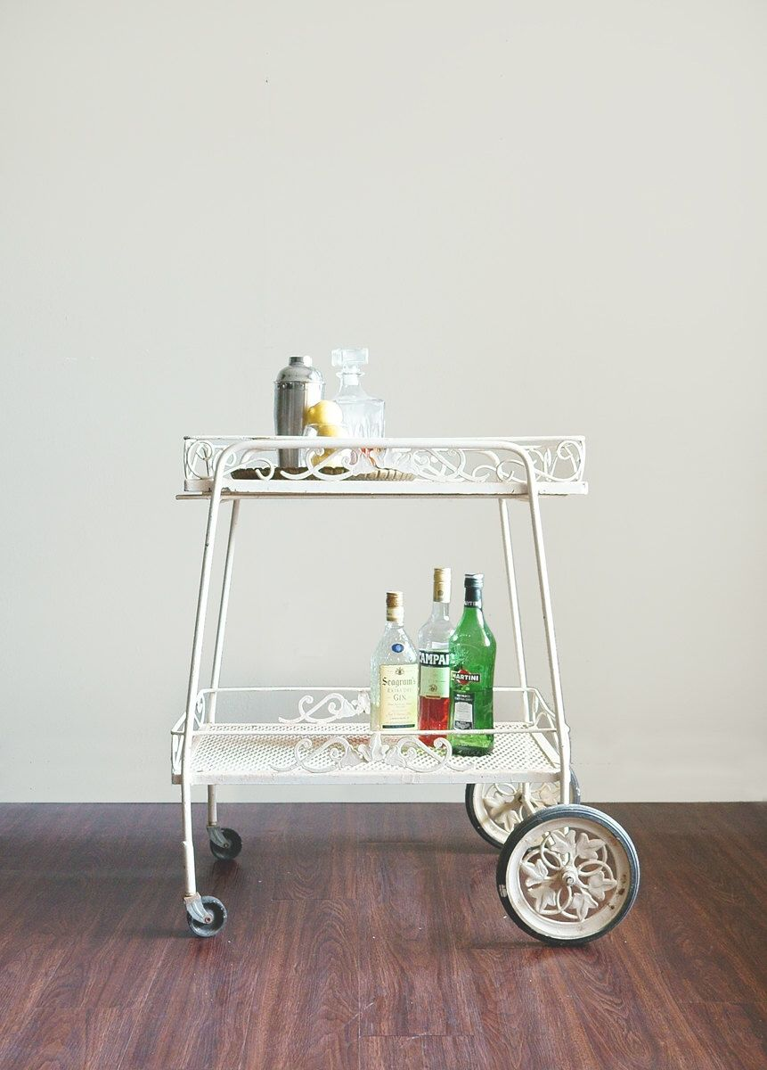 SALE Vintage Bar Cart Wrought Iron Outdoor Patio Cart By CaprockVintage On  Etsy Https:/