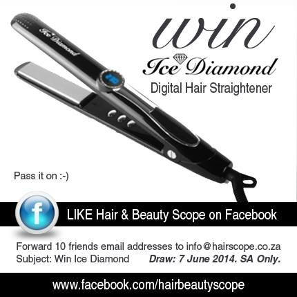 COMPETITION CLOSED You can #WIN this Digital Straightener with @HairScope and Ice Diamond. SA residents only. Draw 7 June 2014.  www.hairscope.co.za