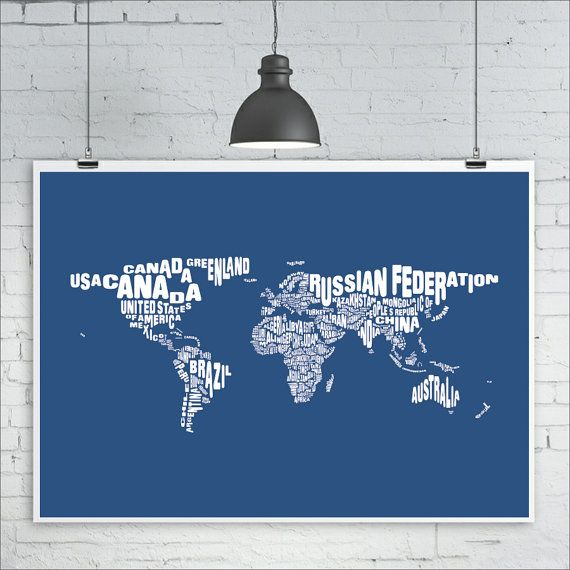 World map print typography map of the world map art print size world map print typography map of the world map art print size a1 gumiabroncs Images